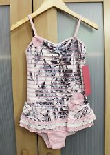 NWT Isobella and Chloe Girls' Cherry Blossom Ruffle Swimsuit in Pink ~ Size 4