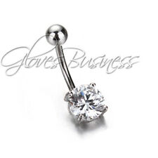 Clear Surgical Body Piercing Jewelry Steel Navel Belly Button Bar Ring