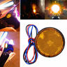 2X Yellow Rear Tail Brake Stop Light Lamp LED Round Reflector For Car Motorcycle