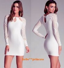 NWT bebe ivory white long sleeve lace bodycon cutout top dress S small M medium