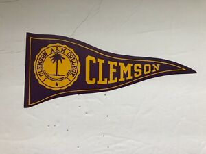 CLEMSON  UNIVERSITY -1940/50s COLLEGE decal STICKER pennant/ RARE