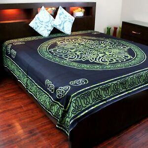 Cotton Celtic Circle Wheel of Life Tapestry Bedspread Bedsheet King Green Black