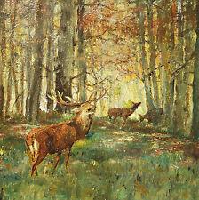 Seltmann Herbst Landschaft mit Hirsch und Rehen JAGD Münchener Schule Rotwild