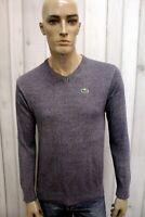 LACOSTE Uomo Taglia L Felpa Maglione Cotone Sweater Pullover Maglietta Maglia