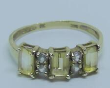 Vintage 9ct Yellow Gold Citrine and White Stone Ring