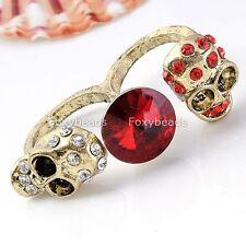 Vintage Bronze Red Clear Rhinestone Crystal Gem Skull Double Finger Ring Gift