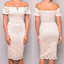 Ex Quiz Lace Bardot Midi Prom Evening Party Cocktail Evening Occasion Dress Size