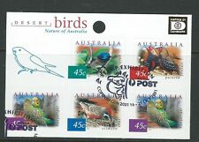 AUSTRALIA 2001 DESERT BIRDS HAFNIA OVERPRINT SHEETLET OF 5 EXHIBITION CANCEL