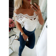 Fashion Women Sexy Solid Lace Cold Shoulder Sleeveless Slim Blouse Top T-Shirt