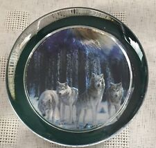 Foiled Glass Wolves Paperweight