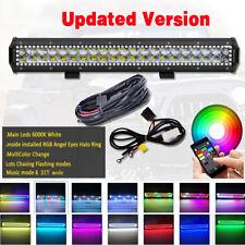 "20"" INCH 4D LED Light Bar Combo RGB Halo Chasing Rock Strobe Flash Bluetooth APP"