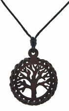 Necklace tree of life - Celtic-square brown-wood Jewel ethnic Peace BB 860 A27
