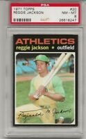 SET BREAK -1971 TOPPS #20 REGGIE JACKSON, PSA 8 NM-MT, HOF, NICELY CENTERED, A'S