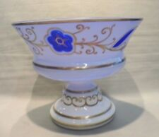 Vintage Bohemian Hand Painted Milk Glass Cut To Cobalt Compote Bowl 6 1/2""