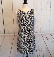 Banana Republic Women's Dress Size 6 Linen Animal Print Black Sleeveless Sheath