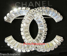 2017 AUTHENTIC CHANEL CC Logo Sparkling Crystal Silver Classic PIN BROOCH New