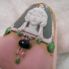 rare SCHAFER & VATER triangle vanity box / pink with CAMEO lady art nouveau look