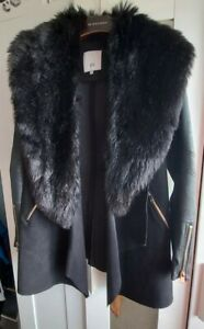 *RIVER ISLAND SIZE 10 BLACK FAUX LEATHER/SUEDE LONG WATERFALL FUR COLLAR COAT*