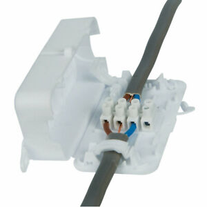 Inline Electrical Junction Connector Box 4 Pole Terminal Block Wire Mains 24A