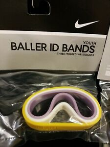 New - Sealed Youth Nike ID Bands Bracelets Yellow Purple White - 3 Pack Lakers