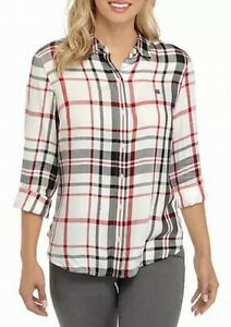 Tommy Hilfiger Women's Shirt Red White Size XL Roll Tab Plaid Logo $59 #178