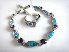 925 Silver Amethyst/Opal Bracelet and Ring SET