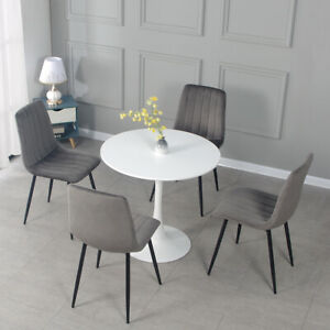 Round Dining Table and 2 /4 Grey Chairs 2 Styles Optional Lounge Office Bar Home