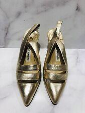 Manolo Blahnik Metallic Leather Slingback Heels Shoes