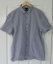 River Island Mens Cotton Shirt Light Blue Short Sleeve Slim Fit Plus Size XL