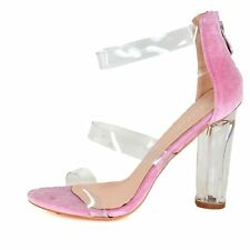 Ladies High Clear Heels Velvet Barely There Open Toe Perspex Occasion Sandals