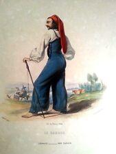 PIRINEOS, CARACO. Litografía original, Émile Loubon, 1840