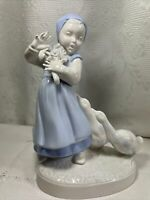 VINTAGE GIRL WITH 2 GEESE PORCELAIN FIGURINE BLUE & WHITE by HOLLAND-MOLD.