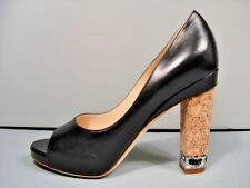 "CHANEL BLACK LEATHER PEEP TOE PLATFORM CORK CHAIN HEEL ""CC"" PUMPS HEELS 36.5 NEW"