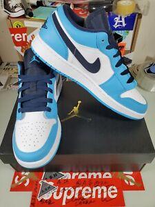 Nike Air Jordan 1 Low UNC Powder Blue Obsidian 553560-144 (GS) Size 6.5Y-7Y