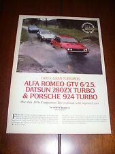 1981 DATSUN 280ZX TURBO vs. PORSCHE 924 TURBO vs ALFA ROMEO GTV ORIGINAL ARTICLE
