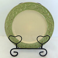 Pier 1 Antique Floral Salad Plate Green Stoneware Embossed