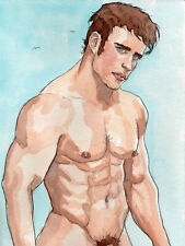 ORIGINAL LARGE MALE NUDE Watercolor - DAMIAN - by GERMANIA