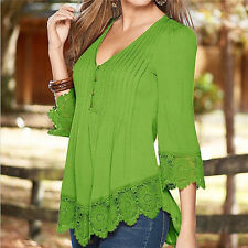 New Women Summer Fashion Long Sleeve Shirt Casual Blouse Lace Loose Tops T Shirt