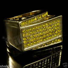 14k Gold Band Micropave Canary Lemonade CZ Mens Bling HipHop Iced Pinky Ring