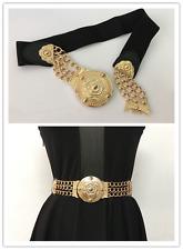 Mujeres Cinturón a la Cintura de Metal Elástico en la cintura Placa de Oro Ancho Negro Cinturones Reino Unido Regalos