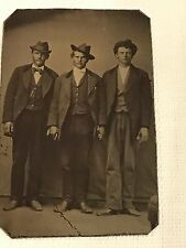 Antique Tintype Photo 3 Men Holding Hands Brothers/Lovers/Friends? Amazing Photo