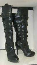 """Black 4.5"""" High Heel 1"""" Platform Side Buckles Sexy Knee Sexy Boots Size 5.5"""
