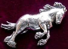 Pewter Shire Clydesdale Heavy Work Horse Brooch Pin : Signed