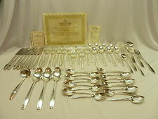 57 pc HARMONY HOUSE SILVERPLATE Flatware Set SERENADE Serves 8+  R WALLACE & SON