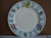 """Rare Vintage Tabletops Northwinds 10.5"""" Dinner Plate Blue Stripes Floral"""