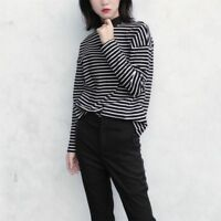Women Turtleneck Korean Style T Shirt Harajuku Crop Top Long Sleeved  Striped