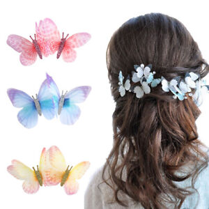 2PCS 3D Butterfly Fairy Hairpin Barrette Hair Clips Women Hair Accessories Party