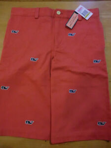"""Vineyard Vines """"Embroidered Whale"""" Club Shorts, NWT -Boys 14 - Youth Firecracker"""