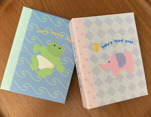 """Photo Albums """"Baby's Second & Third Year""""  4"""" by 6"""" Photos Frog,Elephant"""