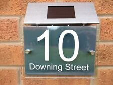 Personalised House number sign clear 5mm acrylic perspex aluminium Solar Light